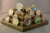 Challenge Coin Display - 50 Coin Rotating Pentagon Challenge Coin Displays