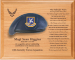 Air Force Beret Plaque - 12 x 15 Alder Air Force Security Forces Specific Gifts