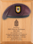 Army Beret Plaque - 9 x 12 Alder Army Beret Lasered Plaques
