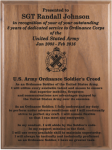 Ordnance Soldier's Creed Walnut Plaque Army Creed Retirement Plaques
