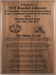 Medic Creed Walnut Plaque Army Creed Retirement Plaques