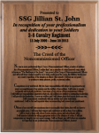 NCO Creed Walnut Plaque 9 x 12 Army Creed Retirement Plaques