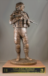 Mission Ready Statue on Walnut Base Army Soldier Statue | Figurine