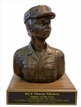 Soldier Bust - Female Army Statue on Walnut Base Army Soldier Statue | Figurine