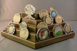 Challenge Coin Display - 50 Coin Rotating Pentagon Challenge Coin Displays for Army Retirement