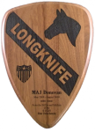 1st Cavalry Walnut Lasered Plaque Custom Shape Plaques