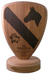1st Cavalry Walnut Lasered Standing Plaque Custom Shape Plaques