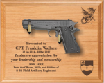 Large M1911 Alder Pistol DIsplay Military Pistol Plaque Displays