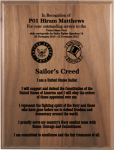 Sailor's Creed Walnut Plaque Military Plaques | Laser Engraved