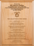 Army Quartermaster Creed Plaque Military Plaques | Laser Engraved