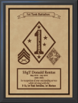 Military Leather Emblem Plaque 12 X 15  Military Plaques | Laser Engraved
