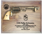 Large Walnut Navy Pistol Plaque Military Retirement Gift Pistols