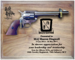 Large Walnut Military Pistol Plaque Military Retirement Gift Plaques