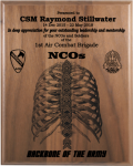 NCO - Backbone of the Army Walnut Plaque Military Retirement Gift Plaques