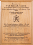 Ordnance Soldier's Creed Plaque Military Retirement Gift Plaques