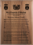 Warrant Officer Creed Walnut Plaque Military Retirement Gift Plaques