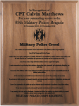 Military Police Creed Walnut Plaque  Military Retirement Gift Plaques