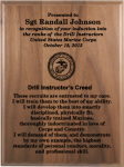 Marine Corps Drill Instructor's Creed Walnut Plaque  Military Retirement Gift Plaques