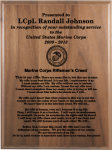 Marine Corps Rifleman's Creed Walnut Plaque Military Retirement Gift Plaques