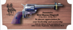 Standard Mahagony Military Pistol Plaque Military Retirement Gift Plaques