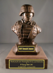 'Kevlar Bust' Soldier Statue on Walnut Base Military Retirement Gift Statues