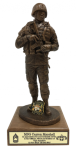'Battle Rattle' Soldier Statue on Walnut Base Military Retirement Gift Statues