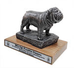 Bulldog Mascot Statue - Silver/Pewter Military Statues   Military Figures