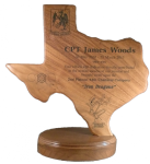 Standing Texas Plaque Walnut Award Plaques