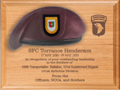 Army Beret Lasered Plaques