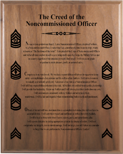 Personalized and Laser Engraved Customized Army NCO Creed Plaque