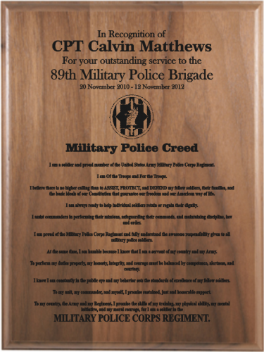 "Army ""Creed"" Retirement Plaques"