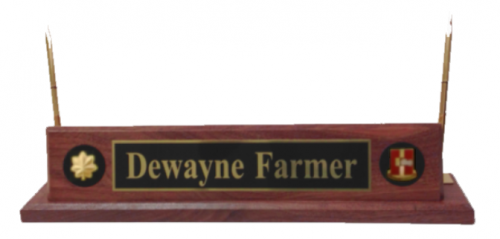 Deluxe Military Desk Name Plate With Pens Army Plates