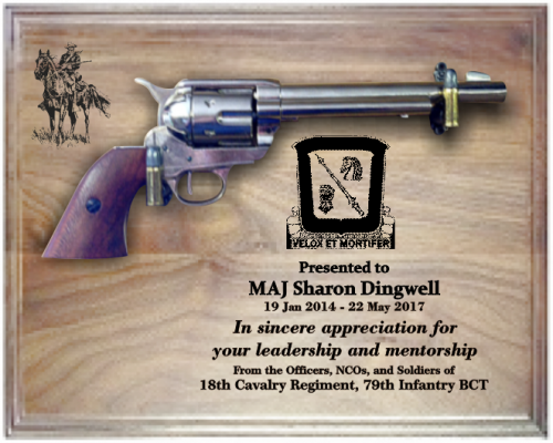 large walnut military pistol plaque army gifts personalized awards