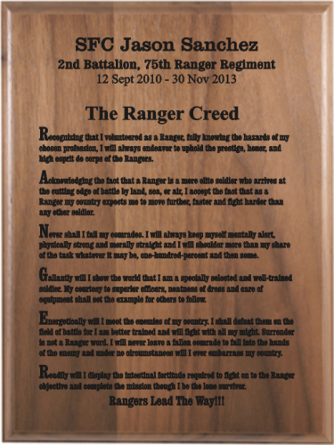 "Military ""Creed"" Plaques"
