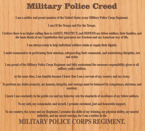 military creed plaques frames
