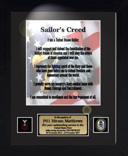 sailors creed 11 x 14 military creed plaques and frames