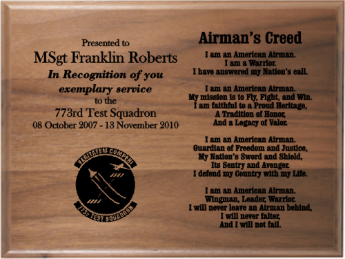 Airmans creed walnut plaque military creed plaques and frames airmans creed walnut plaque military creed plaques and frames thecheapjerseys Images