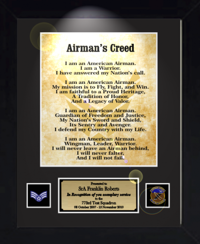 Airmans creed 11 x 14 military creed plaques and frames sports trophies awards altavistaventures Images
