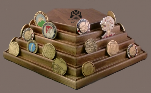 Challenge Coin Display - 100 Coin Rotating Pentagon Military