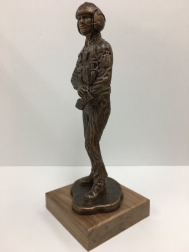 Helicopter Pilot Statue on Walnut Base