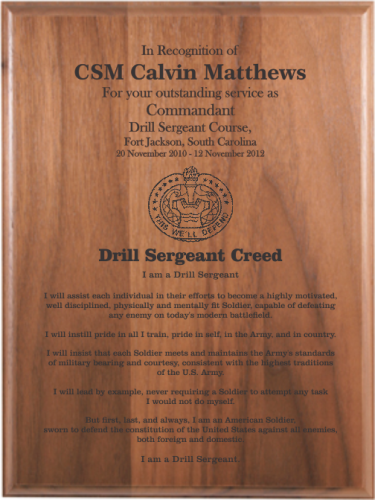 Military Plaques Laser Engraved