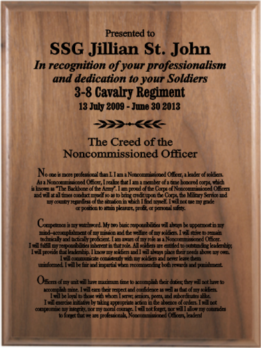 Military Retirement Gift Plaques