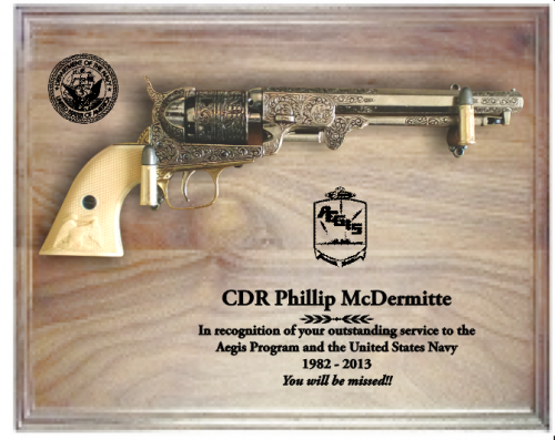 Large walnut navy pistol plaque military retirement gifts gift ideas negle Images