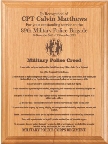 Military Police Creed Plaque Military Retirement Gifts | Ideas